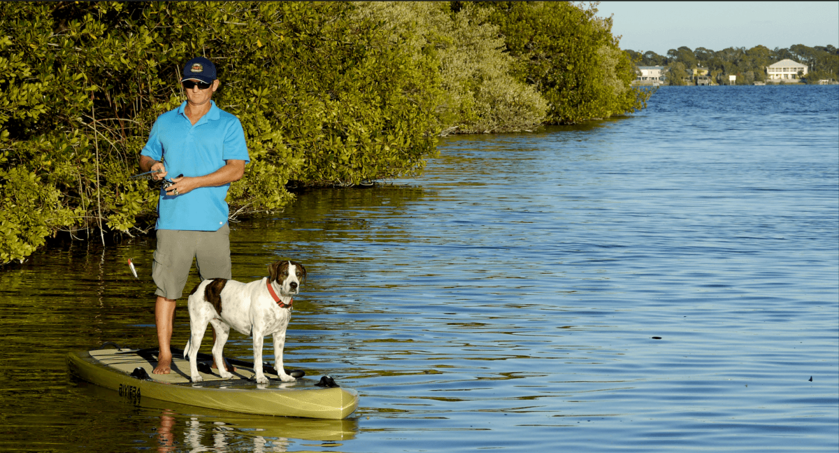 Girard Middleton SoBe Surf & Paddle Fishing SUP Board with dog Kona
