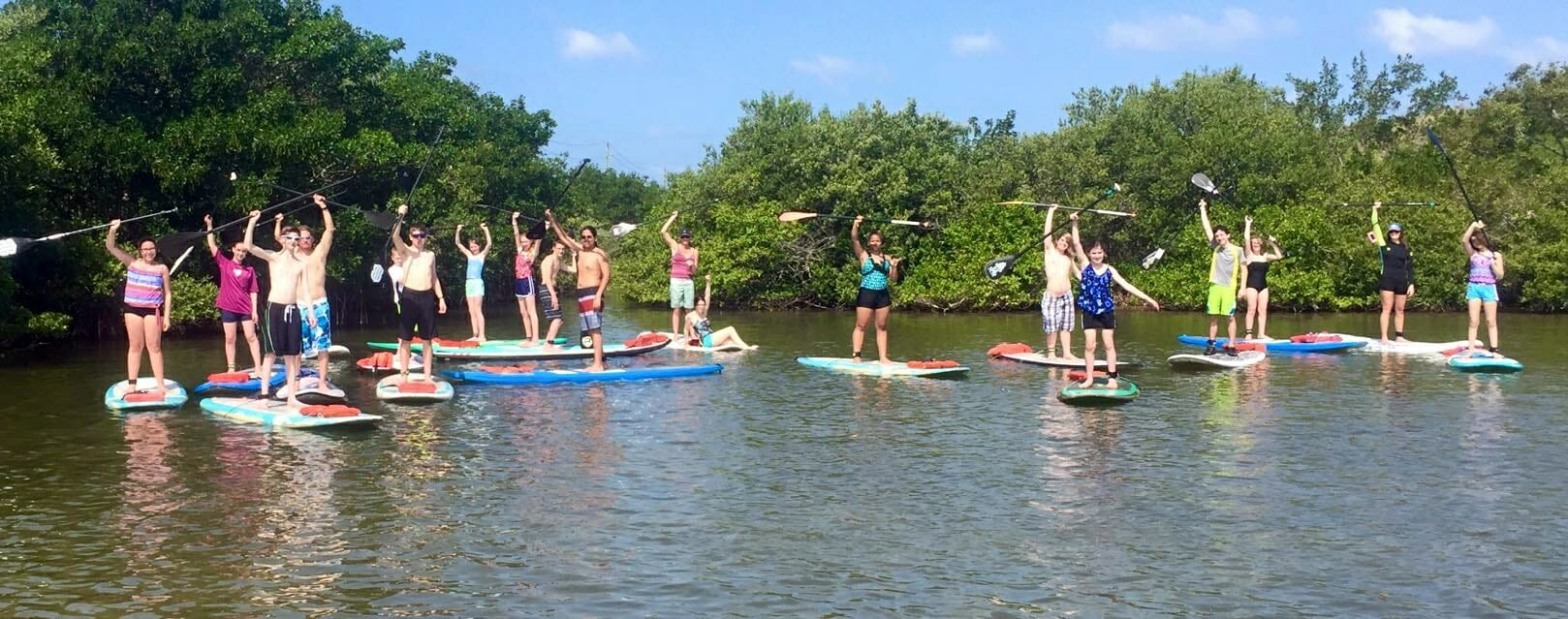 Group stand up paddle lesson near Cocoa Beach, FL