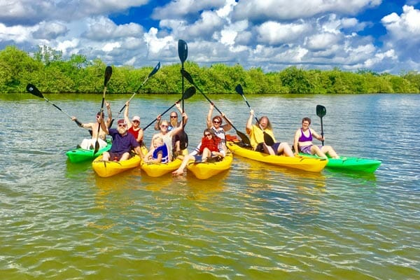 Group kayak tour with manatees and dolphins near Cocoa Beach