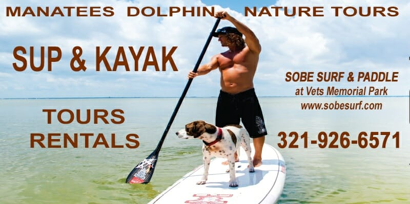 SoBe Surf & Paddle kayak rental paddle board rental area at Brevard Veteran's Memorial Park Banana River lagoon bass lakes Florida
