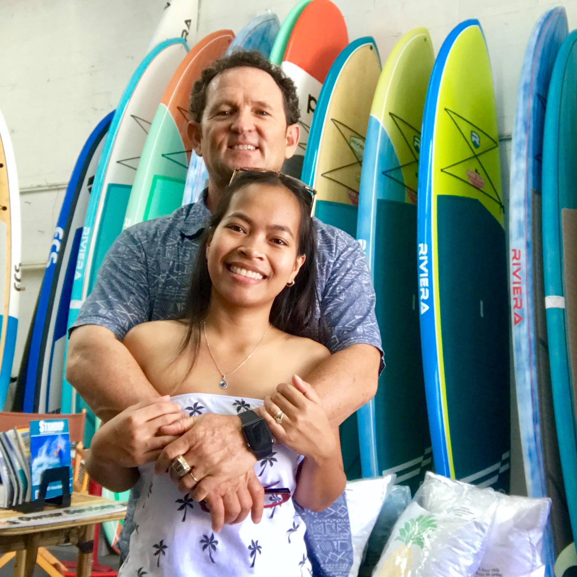 Girard Middleton and wife Kristine Middleton at their Sobe Surf & Paddle shop
